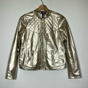Faux Leather Moto Jacket Medium Gold Quilted